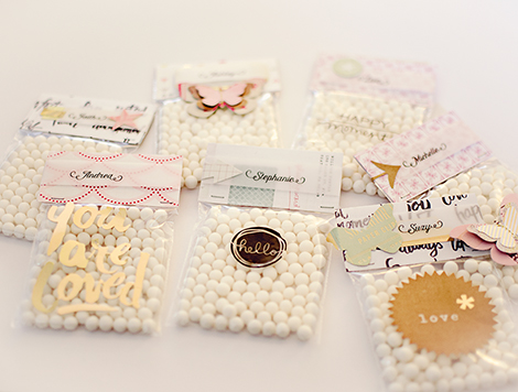 Diy bridal shower favors stitch in time to make these yourself just fill a small cellophane bag with the candy of your choice make a bag topper by folding a piece of patterned paper cut to size solutioingenieria Choice Image