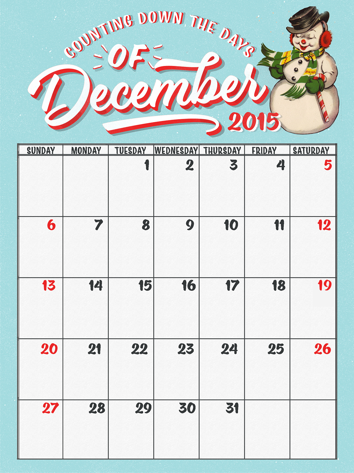 Free December Daily Calendar Printables - Stitch In Time