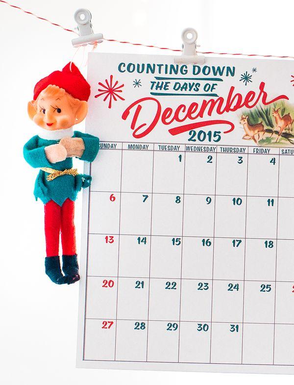 free december daily calendar printables stitch in time. Black Bedroom Furniture Sets. Home Design Ideas